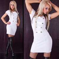 SEXY KNITTED MINIDRESS WHITE UK 10/12 (M/L)