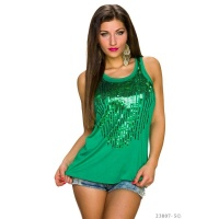 ELEGANT TANKTOP WITH SEQUINS GREEN