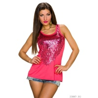 ELEGANT TANKTOP WITH SEQUINS SALMON