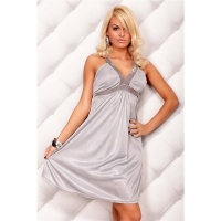 ELEGANT STRAP DRESS EVENING DRESS GREY