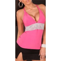 SEXY STRAPPY TOP RHINESTONE-LOOK FUCHSIA