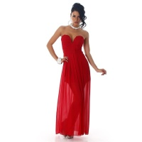 ELEGANT STRAPLESS BANDEAU EVENING DRESS MADE OF CHIFFON RED