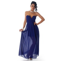 ELEGANT STRAPLESS BANDEAU EVENING DRESS MADE OF CHIFFON ROYAL BLUE