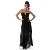 ELEGANT STRAPLESS BANDEAU EVENING DRESS MADE OF CHIFFON BLACK