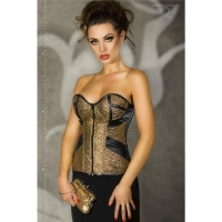 EXCLUSIVE CORSAGE MADE OF SOFT IMITATION LEATHER CLUBWEAR GOLD/BLACK