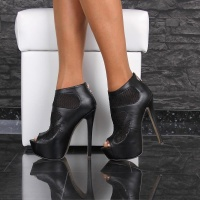 EXCLUSIVE PLATFORM ANKLE BOOTS PEEP TOE HIGH HEELS BLACK