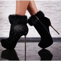 EXCLUSIVE VELVET ANKLE BOOTS HIGH HEELS FAKE FUR...