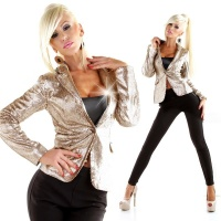 EXCLUSIVE GLAMOUR BLAZER JACKET WITH SEQUINS PARTY GOLD