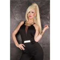 EXCLUSIVE OVERALL JUMPSUIT WITH CHIFFON AND BUCKLE BLACK UK 10 (S)