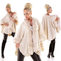 EXCLUSIVE PONCHO CAPE WRAP WITH NOBLE FAKE FUR CREAM