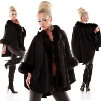 EXCLUSIVE PONCHO CAPE WRAP WITH NOBLE FAKE FUR BLACK