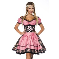 EXCLUSIVE 3 PCS DIRNDL COSTUME DRESS MADE OF DENIM BLACK/PINK