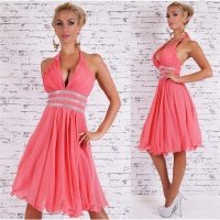 EXCLUSIVE A-LINE CHIFFON EVENING DRESS WITH RHINESTONES...