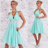 EXCLUSIVE A-LINE CHIFFON EVENING DRESS WITH RHINESTONES MINT GREEN