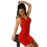 EXCLUSIV GLAMOUR MINIDRESS WITH ELEGANT GATHERS RED UK 10/12 (M/L)