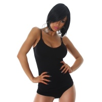 FINE RIB BODY SHAPING TOP WITH STRAPS BLACK