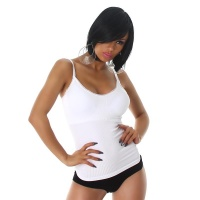 FINE RIB BODY SHAPING TOP WITH STRAPS WHITE