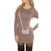 FINE-KNITTED MINIDRESS WITH HANDBAG PATTERN CAPPUCCINO