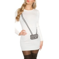 FINE-KNITTED MINIDRESS WITH HANDBAG PATTERN CREAM-WHITE