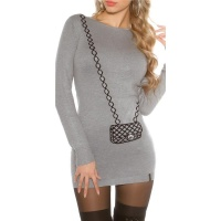 FINE-KNITTED MINIDRESS WITH HANDBAG PATTERN GREY