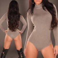 FEMININE FINE-KNITTED BODY SWEATER CAPPUCCINO UK 12/14