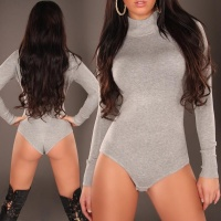 FEMININE FINE-KNITTED BODY SWEATER GREY UK 12/14