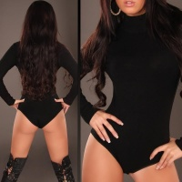 FEMININE FINE-KNITTED BODY SWEATER BLACK UK 12/14