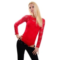 FEMININE LONG-SLEEVED BODY MADE OF LACE TRANSPARENT RED