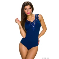 FEMININE BODY-TOP WITH EMBROIDERIES AT THE NECKLINE NAVY