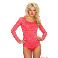 FEMININE LONG-SLEEVED BODYSHIRT MADE OF FLORAL LACE SALMON
