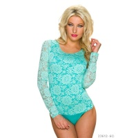 FEMININE LONG-SLEEVED BODYSHIRT MADE OF FLORAL LACE...