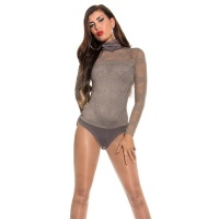 FEMININE LONG-SLEEVED LACE BODYSHIRT TRANSPARENT CAPPUCCINO