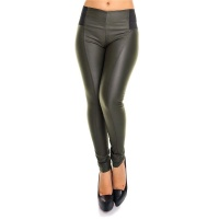 SEXY SKINNY HIGH-WAISTED DRAINPIPE PANTS IN LEATHER-LOOK OLIVE