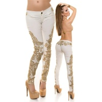 SEXY SKINNY DRAINPIPE PANTS IN LEATHER-LOOK WITH EMBROIDERY CREAM UK 10 (S)