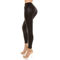 SEXY SKINNY STRETCH LEGGINGS WITH WET LOOK INSET AND ZIPS...