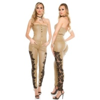 SKINNY STRAPLESS LEATHER-LOOK OVERALL JUMPSUIT WITH LACE BEIGE
