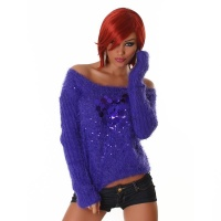 SOFT AND CUDDLY OFF-THE-SHOULDER SWEATER JUMPER PULLOVER PURPLE