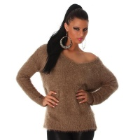 SOFT AND FLUFFY LONG SWEATER MADE OF FANCY YARN BROWN Onesize (UK 8,10,12)