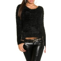 SOFT AND FLUFFY SWEATER JUMPER MADE OF FANCY YARN BLACK