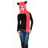 CUDDLY CAP WITH EAR FLAPS AND SCARF CORAL/BLACK