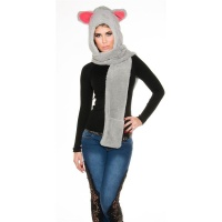 CUDDLY CAP WITH EAR FLAPS AND SCARF GREY/FUCHSIA
