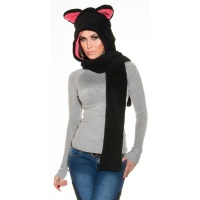 CUDDLY CAP WITH EAR FLAPS AND SCARF BLACK/FUCHSIA