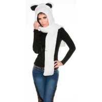 CUDDLY CAP WITH EAR FLAPS AND SCARF WHITE/BLACK