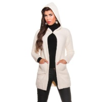 CUDDLY CARDIGAN JACKET WITH HOOD CREAM