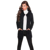CUDDLY CARDIGAN JACKET WITH HOOD BLACK
