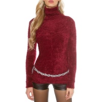 CUDDLY SOFT LADIES TURTLENECK SWEATER JUMPER FANCY YARN...