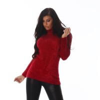 SOFT AND FLUFFY LADIES TURTLENECK SWEATER RED