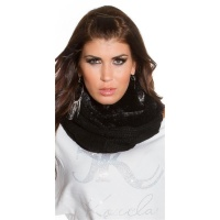 FLUFFY KNITTED LOOP SCARF WITH PLUSH BLACK