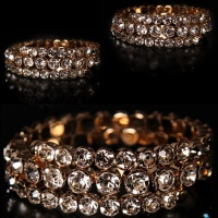 FLEXIBLE GLAMOUR RHINESTONES PARTY ARMLET BRACELET GOLD