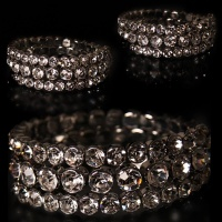 FLEXIBLE GLAMOUR RHINESTONES PARTY ARMLET BRACELET SILVER
